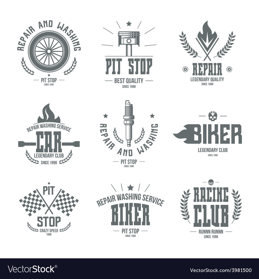 Car races and service badges and logo vector | Price: 1 Credit (USD $1)