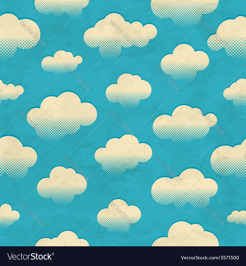 Clouds in the sky seamless pattern vector | Price: 1 Credit (USD $1)