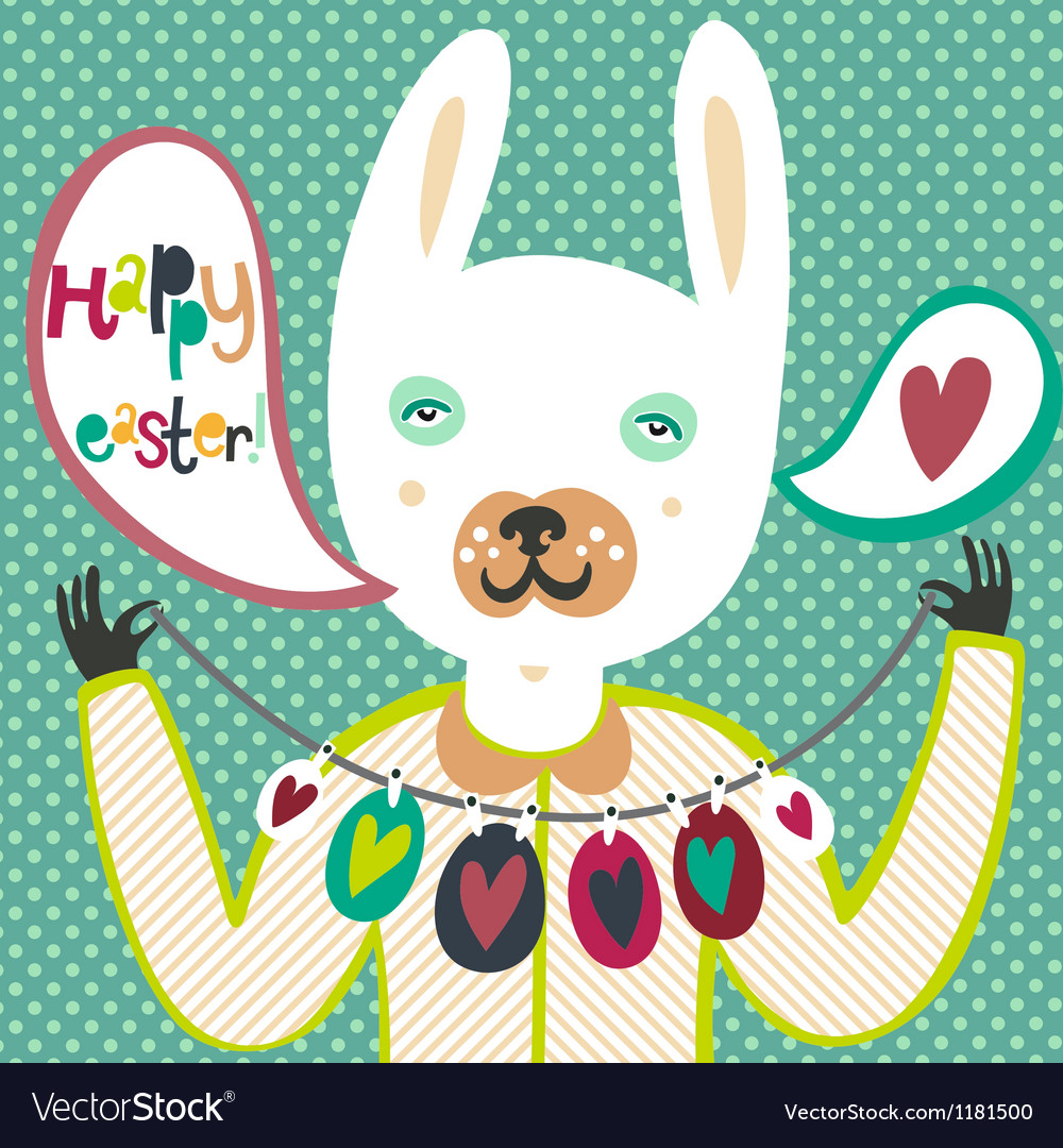 Colorful easter card with bunny and eggs vector | Price: 3 Credit (USD $3)