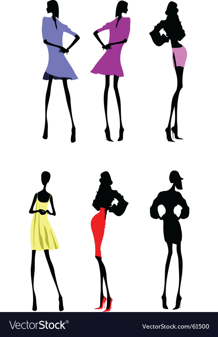 Fashion girls designer silhouette sketch vector | Price: 1 Credit (USD $1)