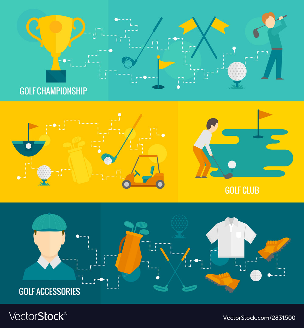 Golf banners set vector | Price: 1 Credit (USD $1)