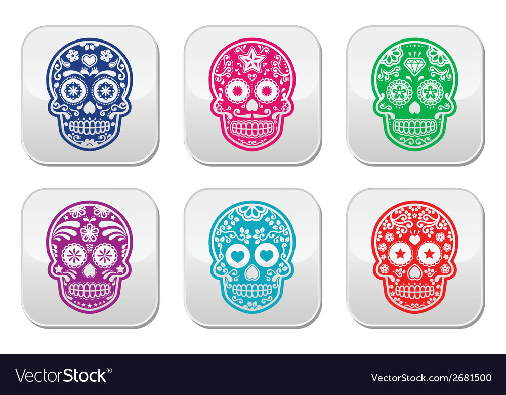 Mexican sugar skull dia de los muertos colorful b vector | Price: 1 Credit (USD $1)