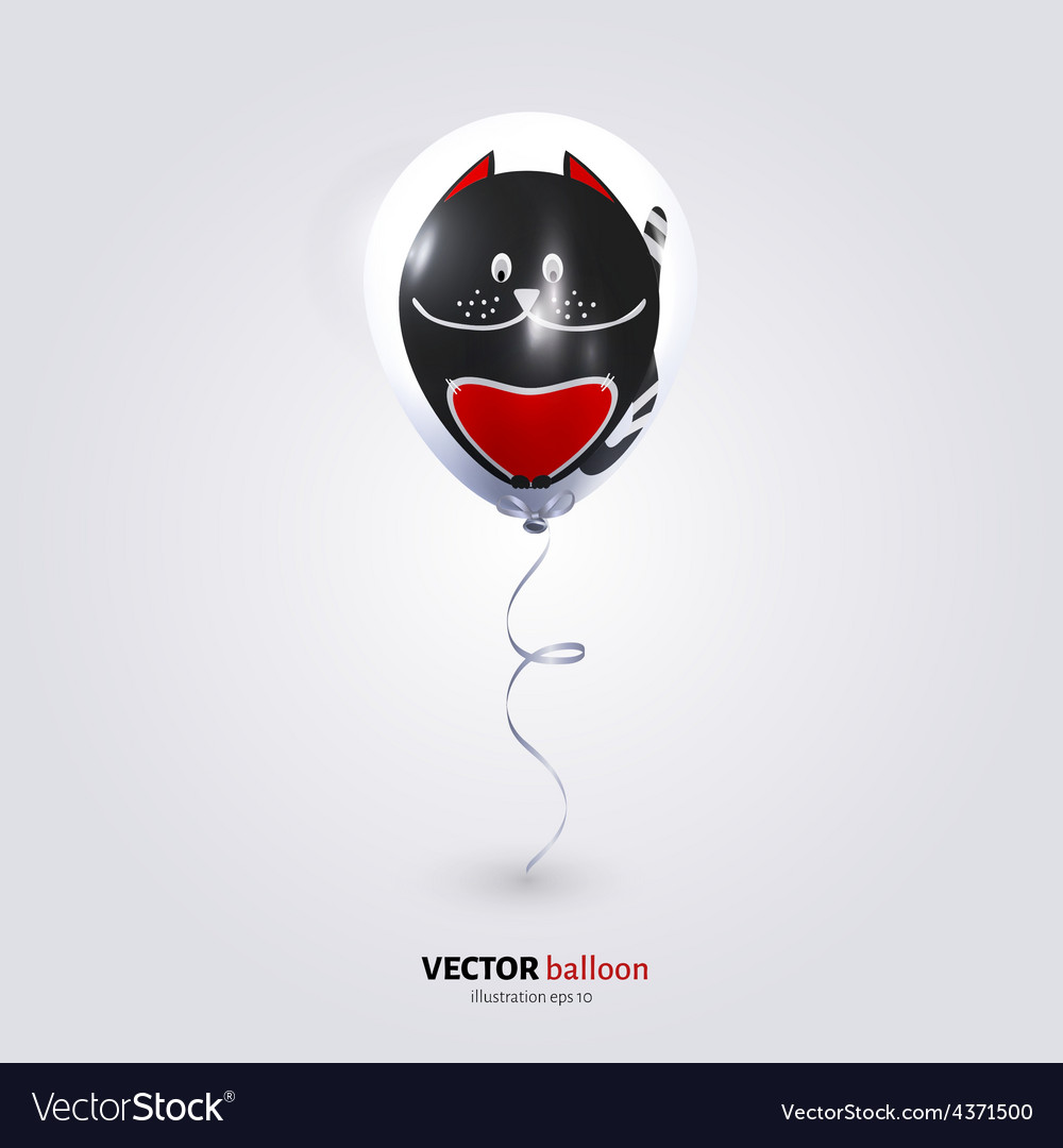 Party flying balloon with streamer isolated on vector | Price: 1 Credit (USD $1)