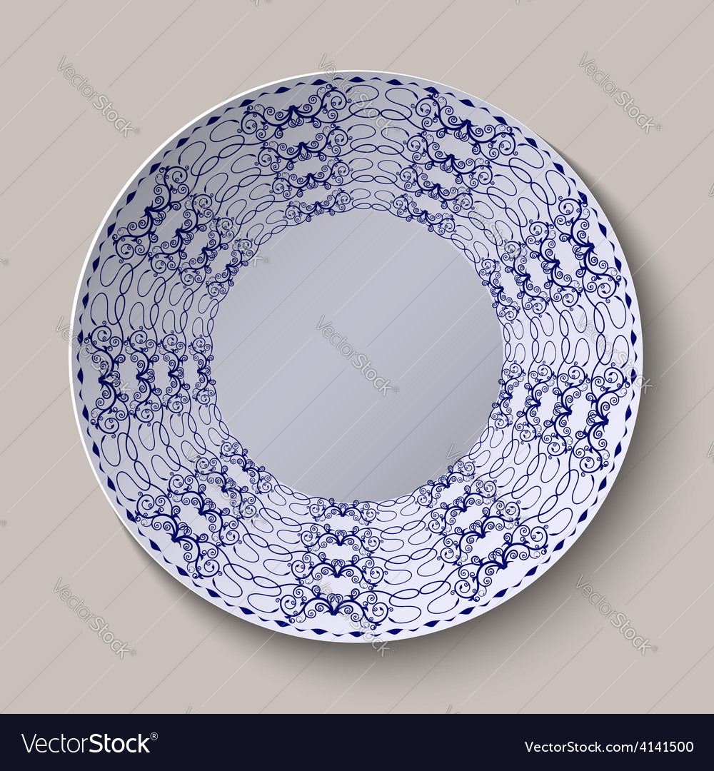 Round blue floral ornament oriental style pattern vector | Price: 1 Credit (USD $1)