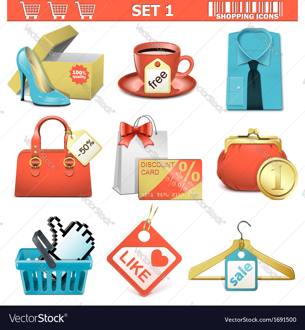 Shopping icons set 1 vector | Price: 1 Credit (USD $1)