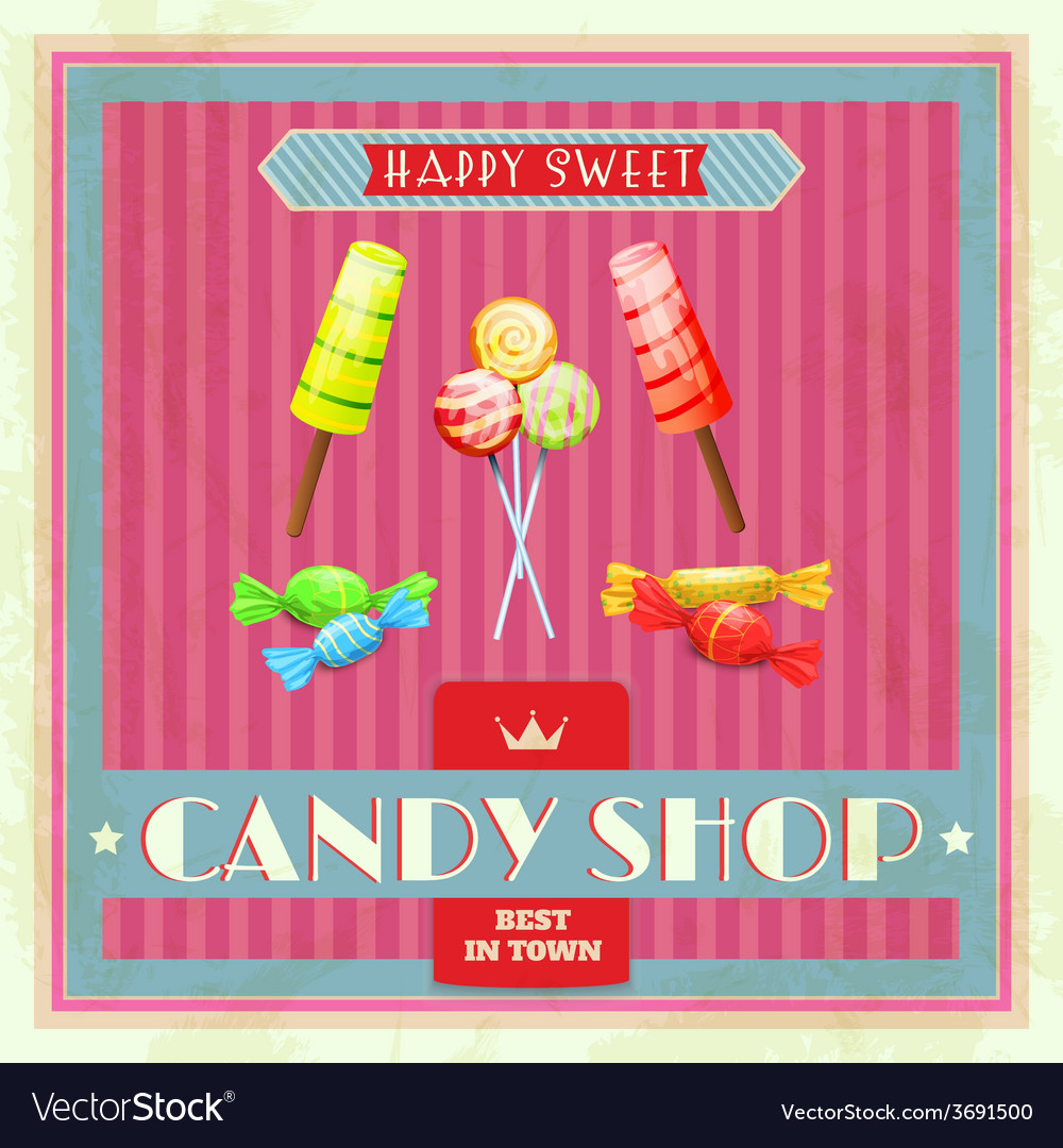 Sweet shop poster vector | Price: 1 Credit (USD $1)