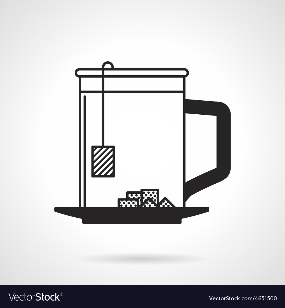 Tea cup with sugar black icon vector | Price: 1 Credit (USD $1)