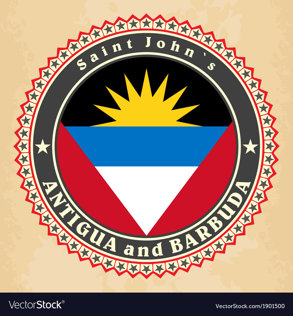 Vintage label cards of antigua and barbuda flag vector | Price: 1 Credit (USD $1)