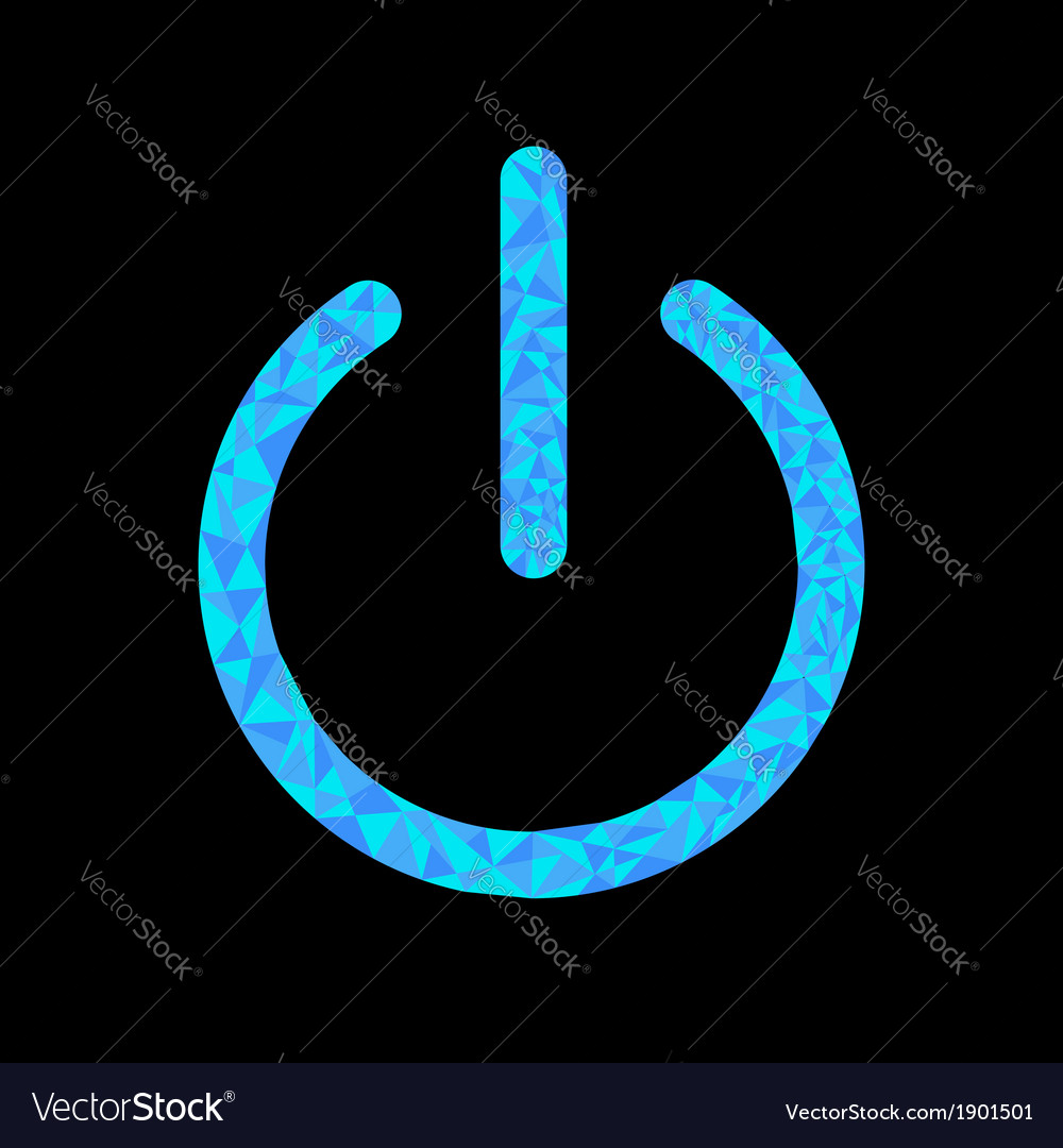 Blue power button icon black background polygonal vector | Price: 1 Credit (USD $1)