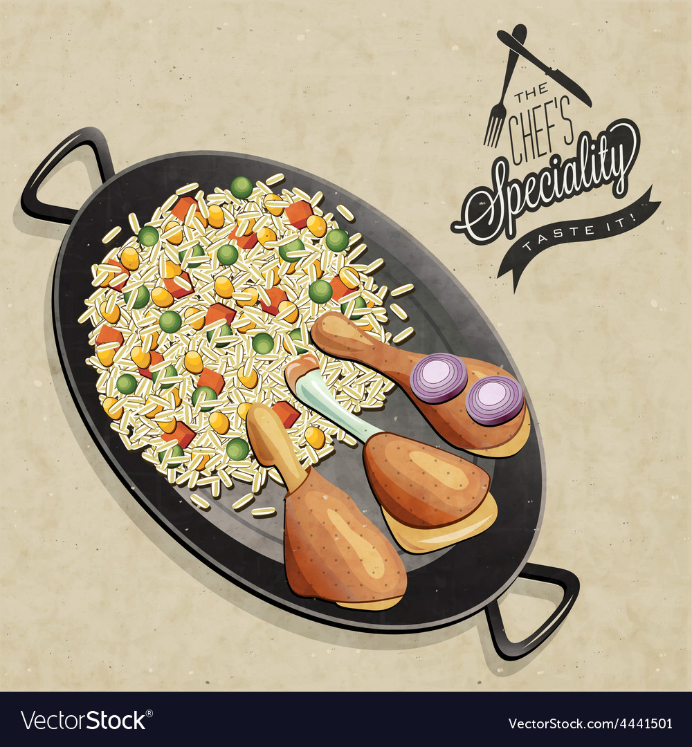 Chicken paella dish vector | Price: 1 Credit (USD $1)