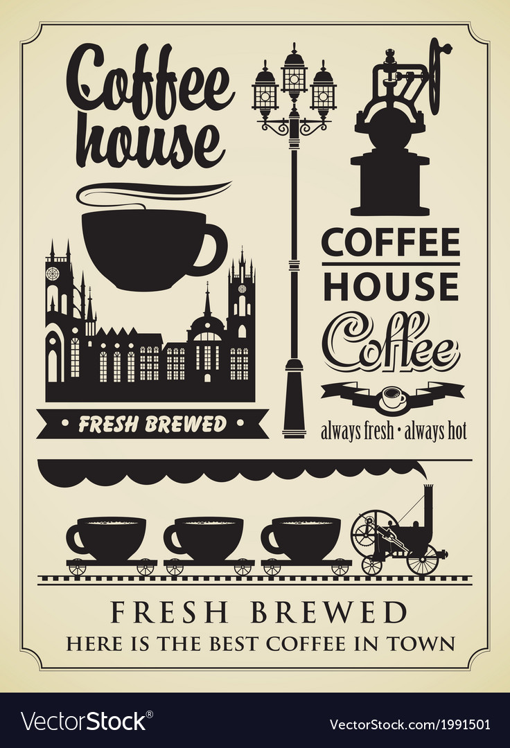 Coffee retro element vector