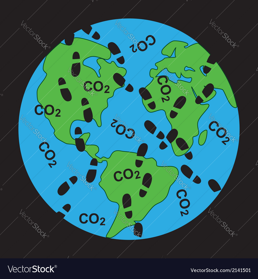 Dirty footprints on earths ecology vector | Price: 1 Credit (USD $1)