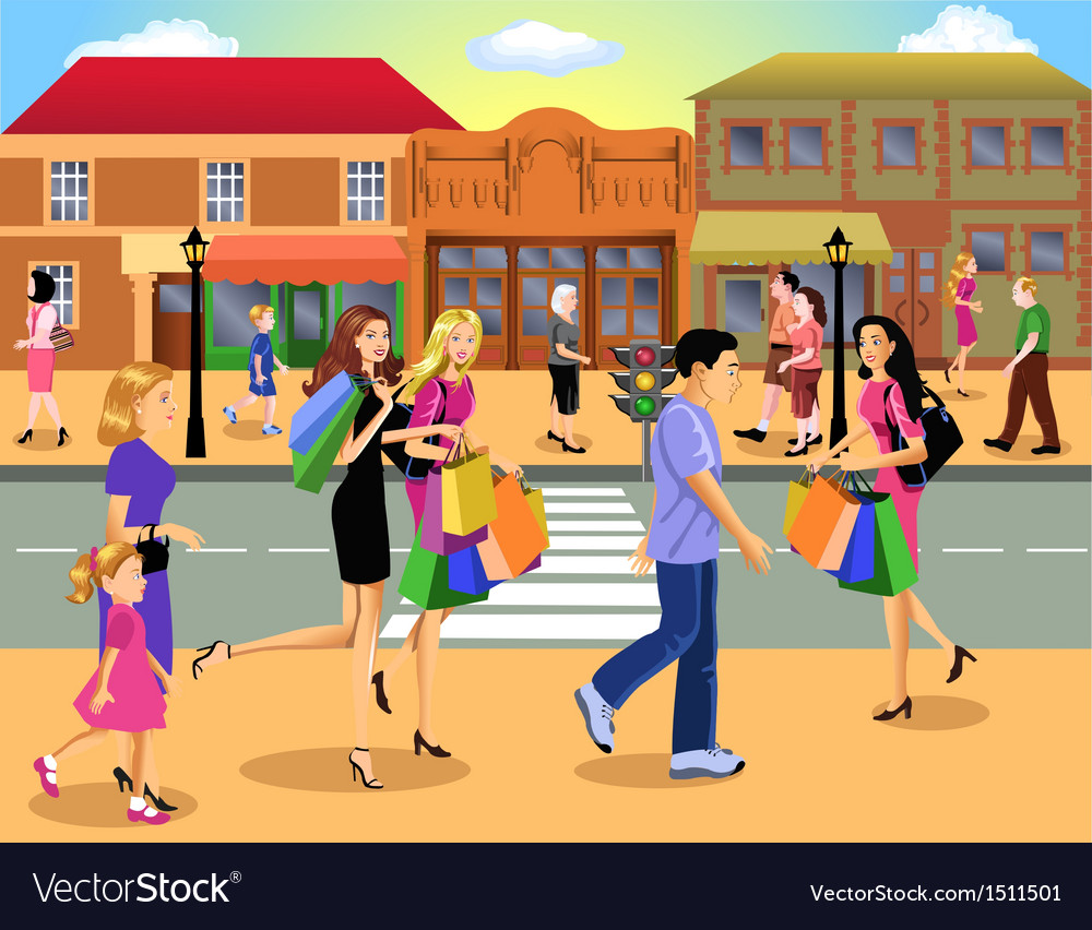 Downtown shopping vector | Price: 10 Credit (USD $10)