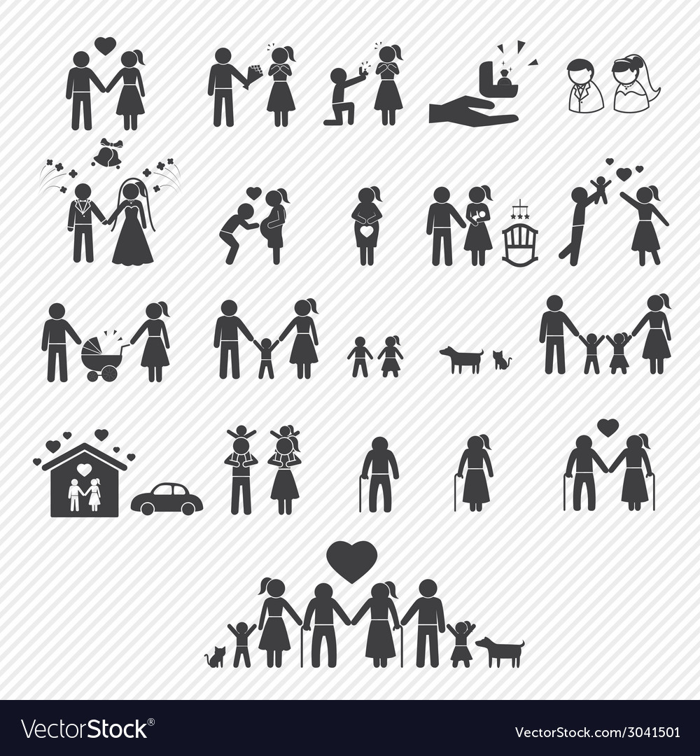 Family icons set vector | Price: 1 Credit (USD $1)