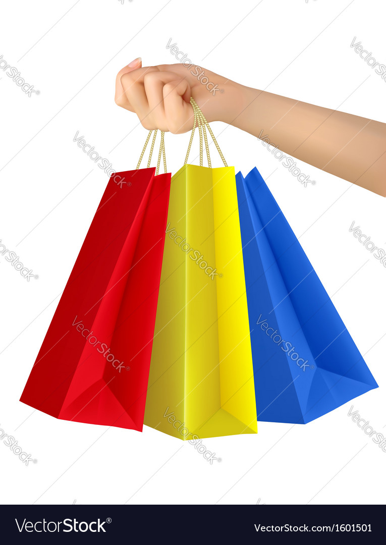 Female hand holding colorful shopping bags vector | Price: 1 Credit (USD $1)