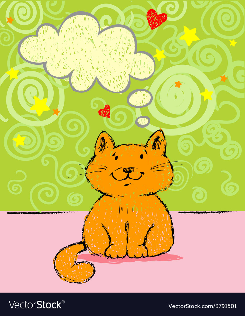 Greeting card with red cat vector | Price: 1 Credit (USD $1)