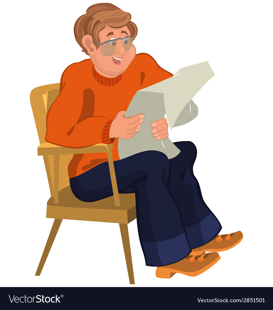 Happy cartoon man sitting in armchair in orange vector | Price: 1 Credit (USD $1)