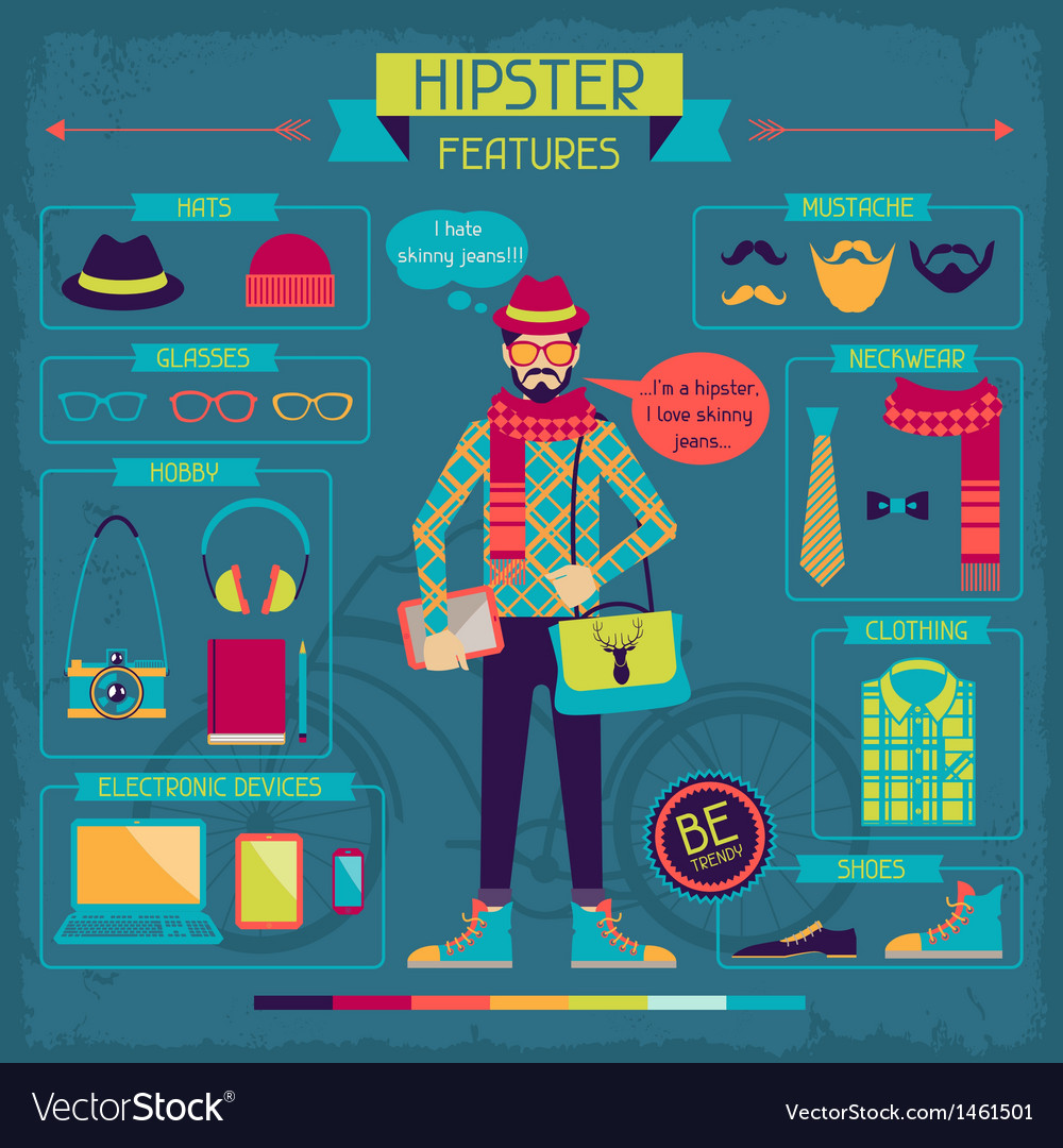 Infographic elements in retro style hipster vector | Price: 3 Credit (USD $3)