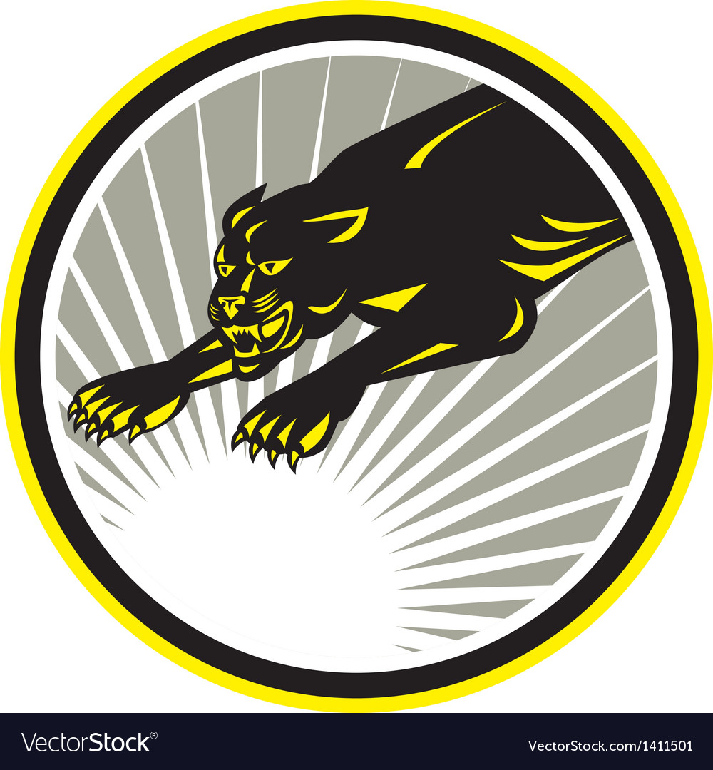 Panther big cat growling circle vector | Price: 1 Credit (USD $1)