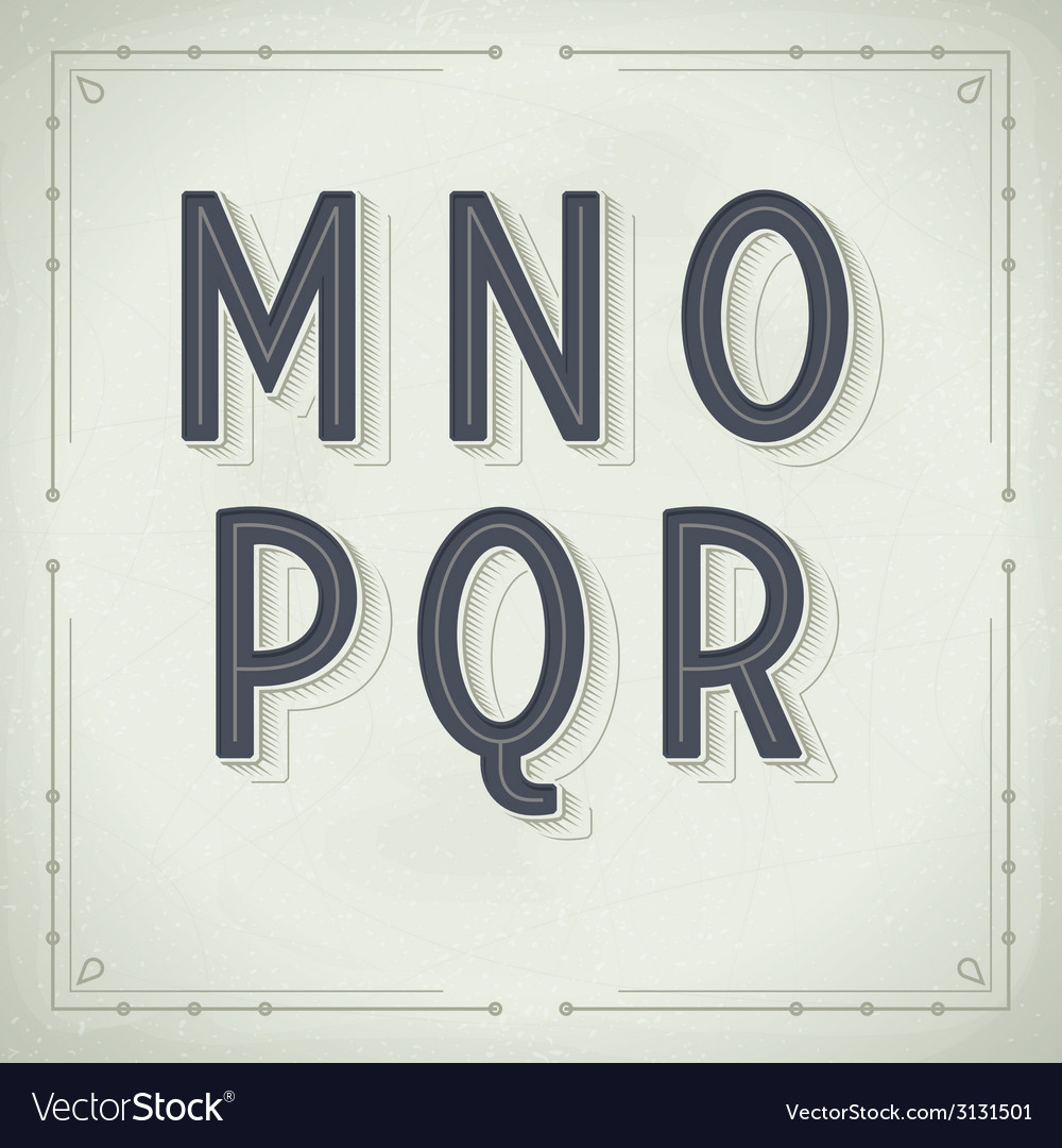 Retro font from m to r vintage typography vector | Price: 1 Credit (USD $1)