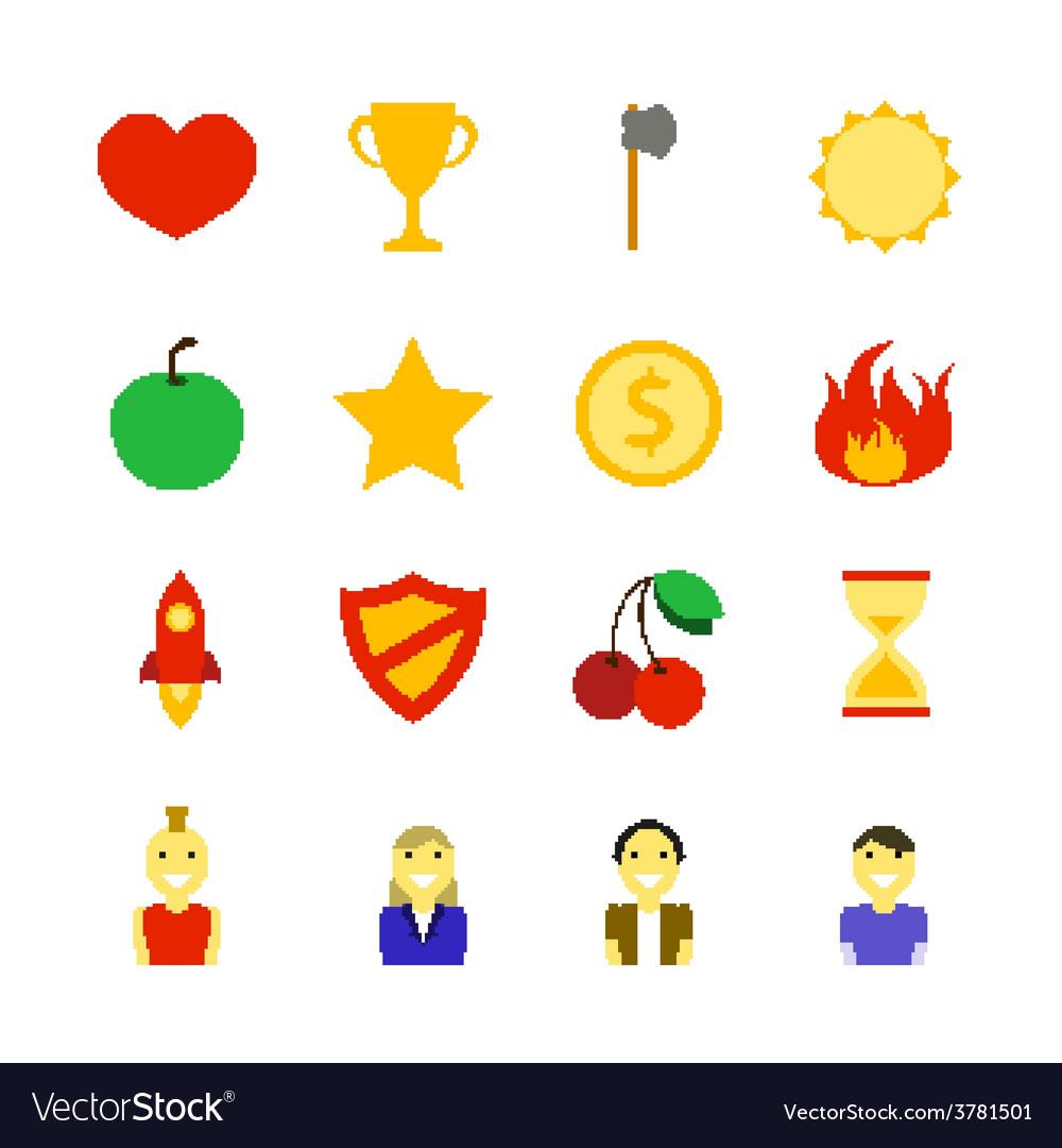 Retro games color icons vector | Price: 1 Credit (USD $1)