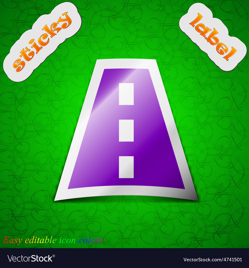 Road icon sign symbol chic colored sticky label on vector   Price: 1 Credit (USD $1)