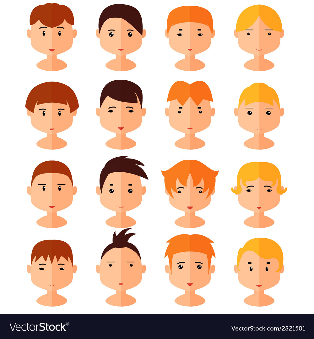 Set of cartoon avatar flat boy icons vector | Price: 1 Credit (USD $1)