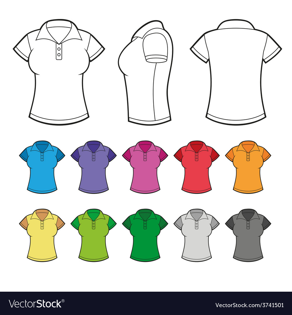 Set of colorful female polo shirts vector | Price: 1 Credit (USD $1)