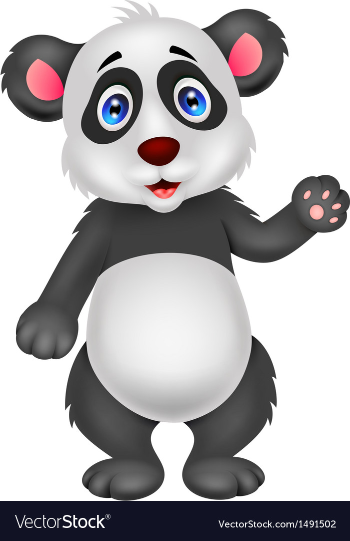 Baby panda cartoon waving hand vector | Price: 1 Credit (USD $1)