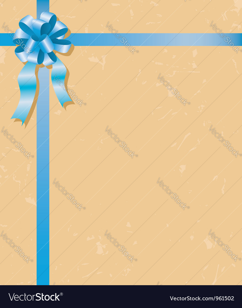 Beige card with blue ribbons and bow vector