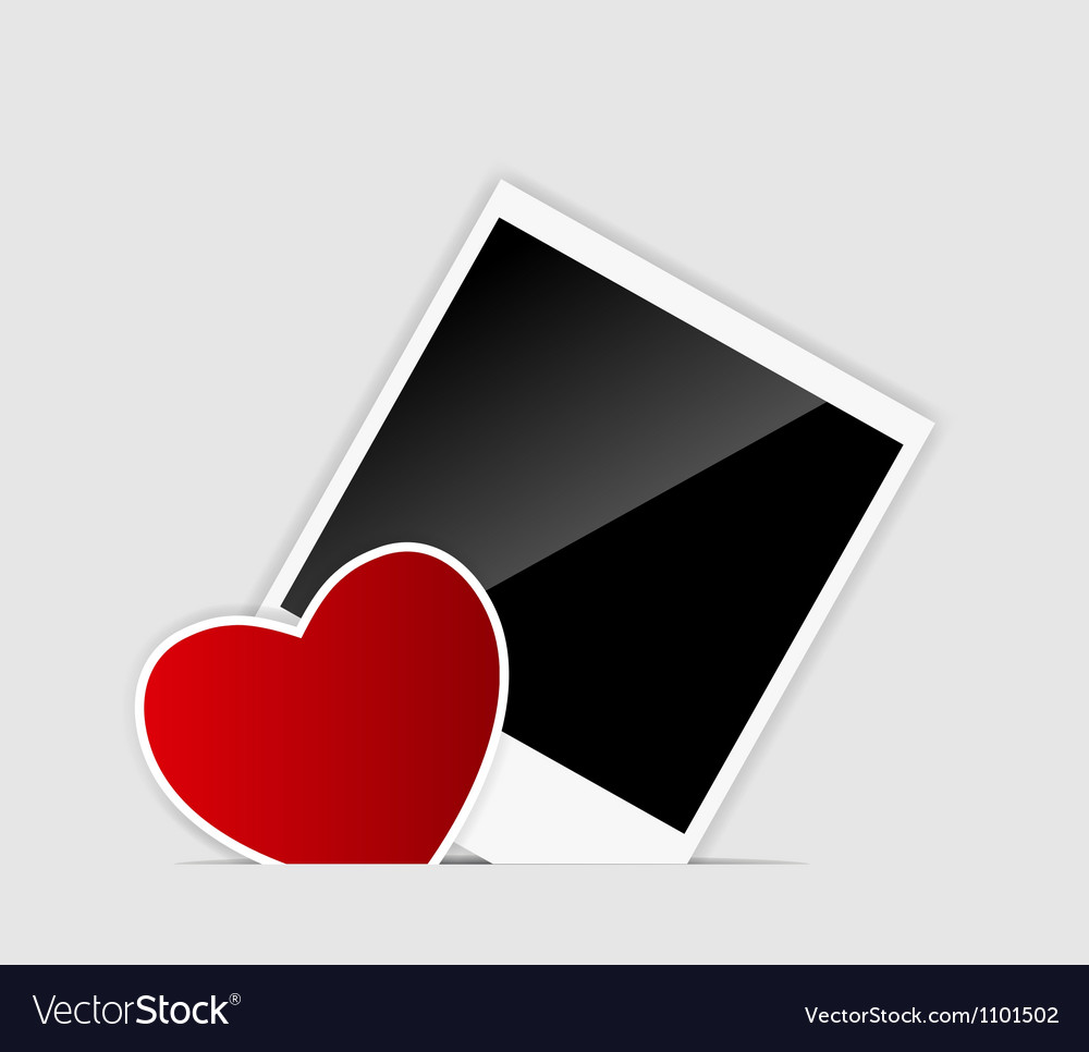 Blank instant photo with heart vector | Price: 1 Credit (USD $1)
