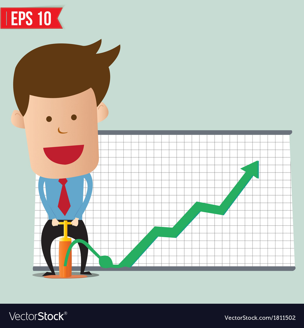 Cartoon business man pump graph - - eps10 vector | Price: 1 Credit (USD $1)