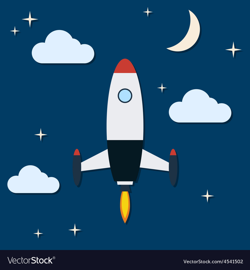 Cartoon rocket launch vector | Price: 1 Credit (USD $1)