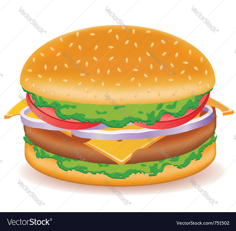 Cheeseburger isolated on white background vector | Price: 3 Credit (USD $3)