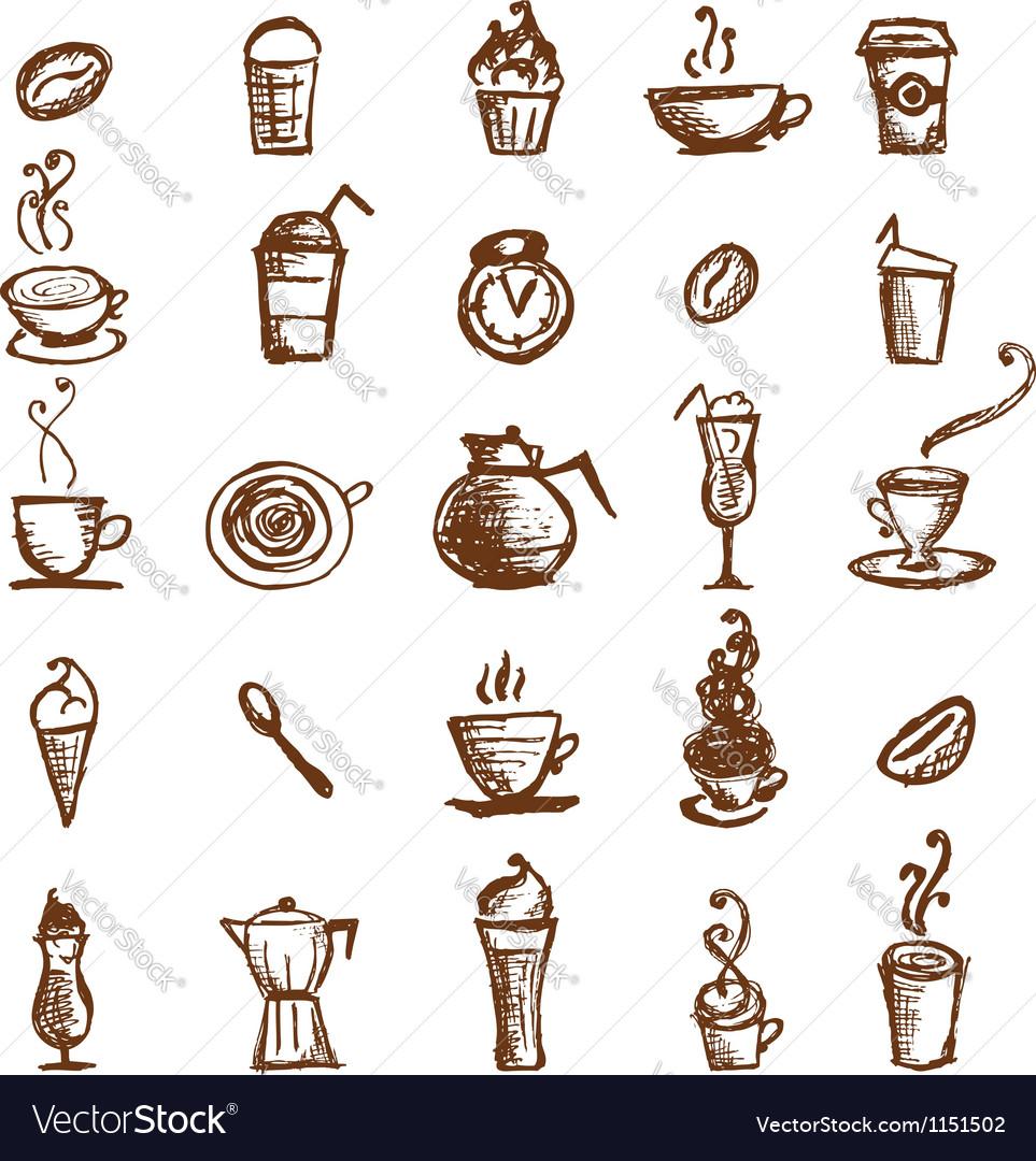 Coffee sketch design elements vector | Price: 1 Credit (USD $1)