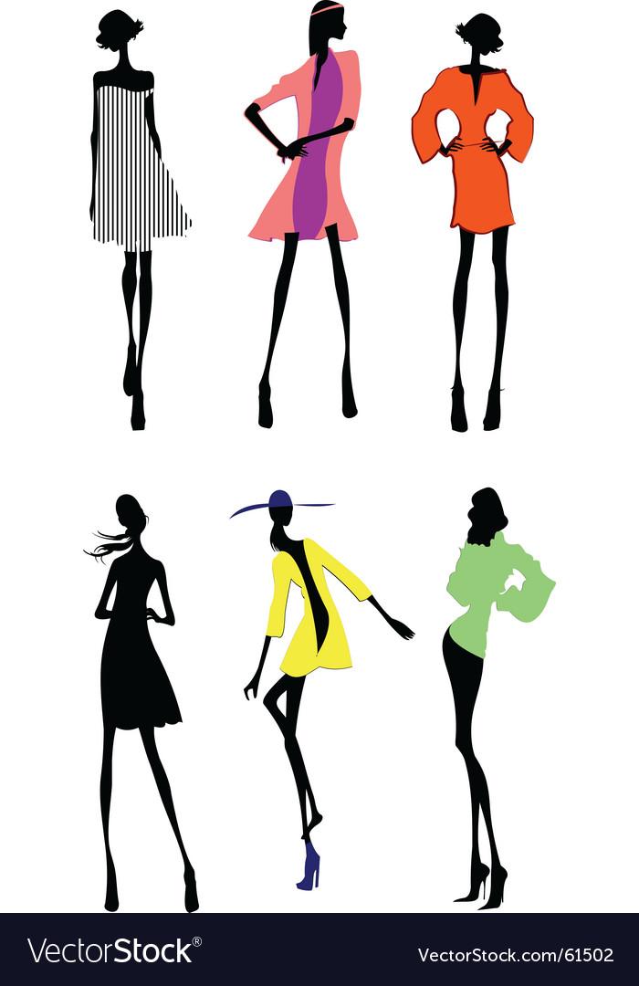 Fashion girls designer silhouette sketch vector   Price: 1 Credit (USD $1)
