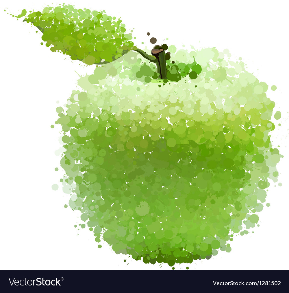 Green apple with leaf of blots isolated on white vector | Price: 1 Credit (USD $1)