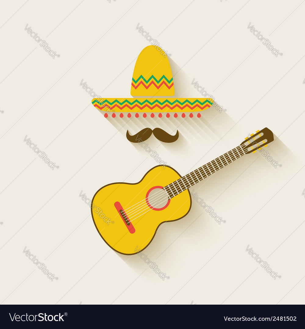 Mexican sombrero and guitar vector | Price: 1 Credit (USD $1)