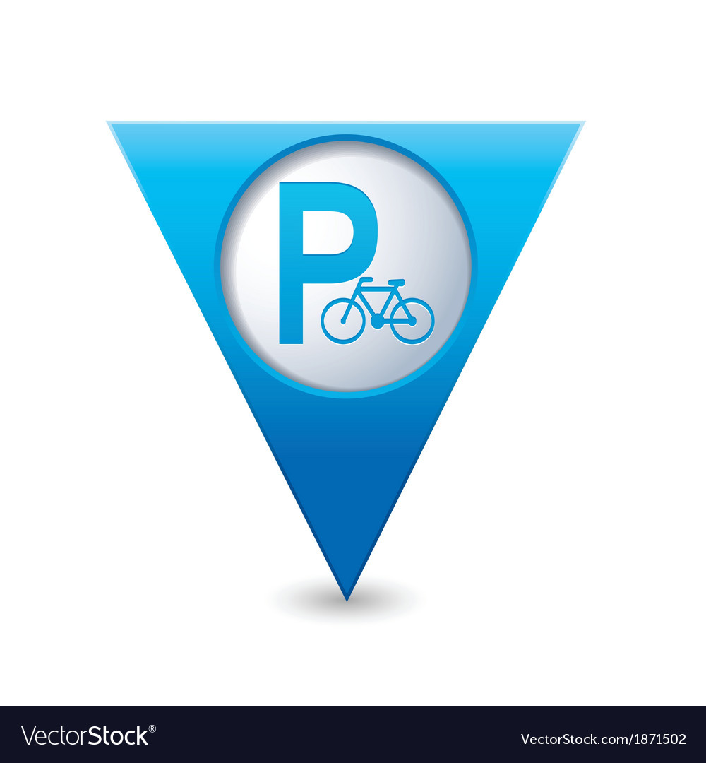 Parking bicycle symbol map pointer blue vector | Price: 1 Credit (USD $1)