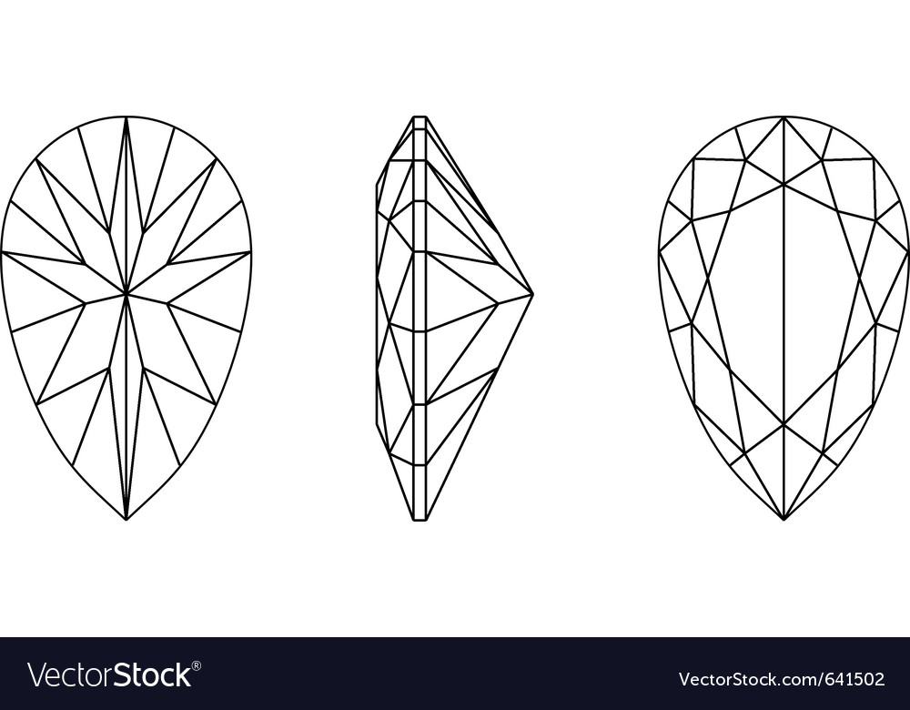 Pear shape gemstone wire frame vector | Price: 1 Credit (USD $1)