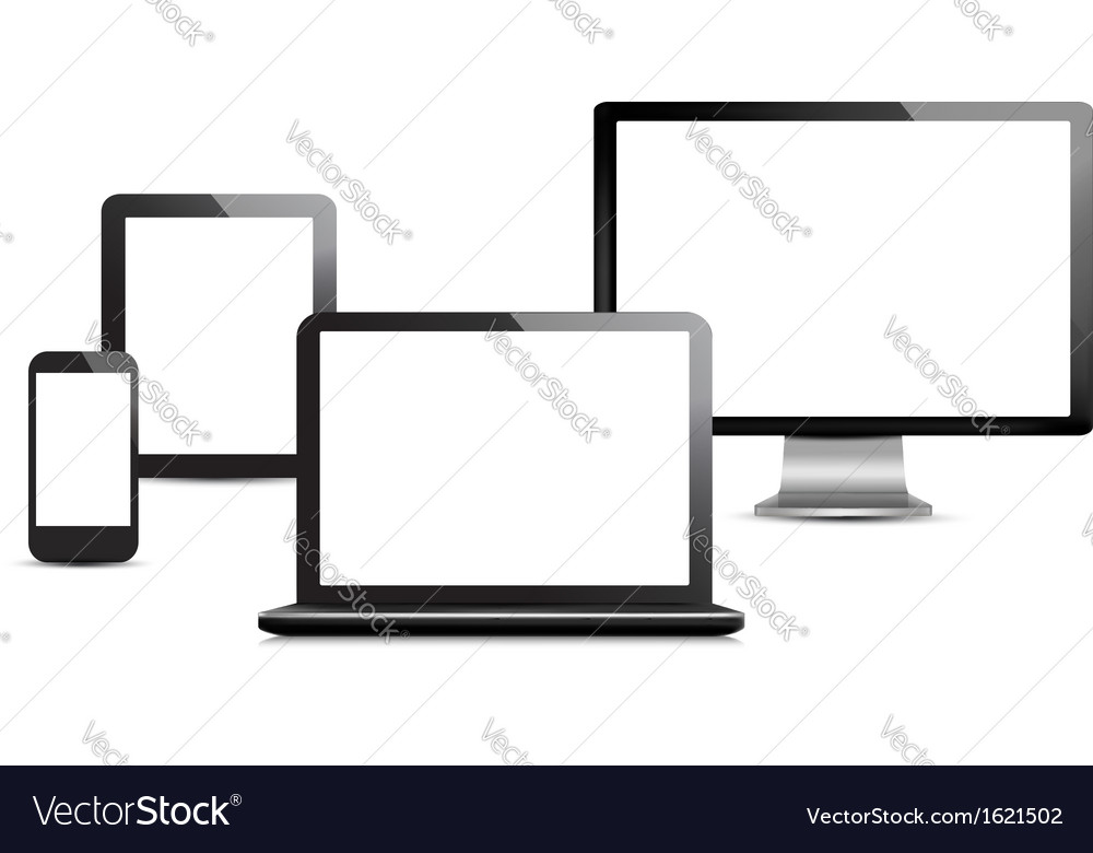 Set of computer devices vector | Price: 1 Credit (USD $1)