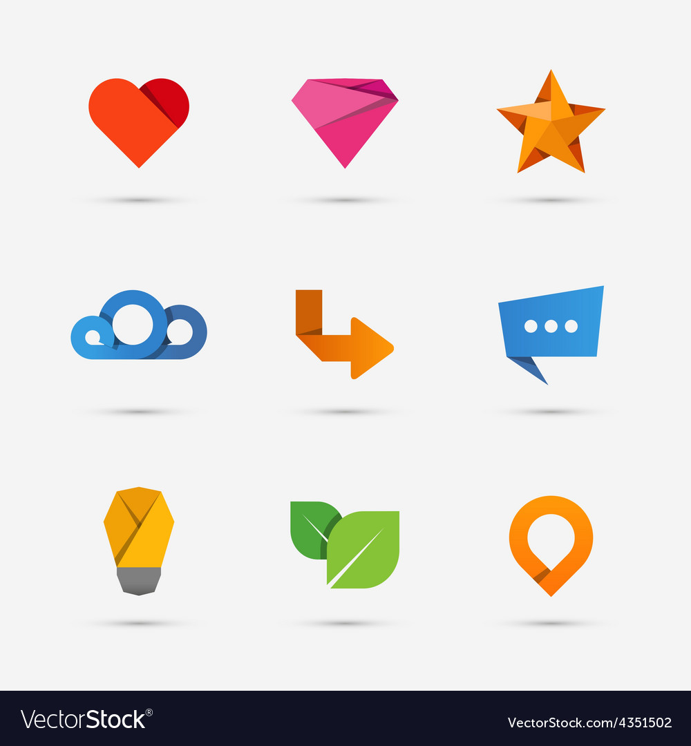 Set of modern flat paper icons or logo elements vector | Price: 1 Credit (USD $1)