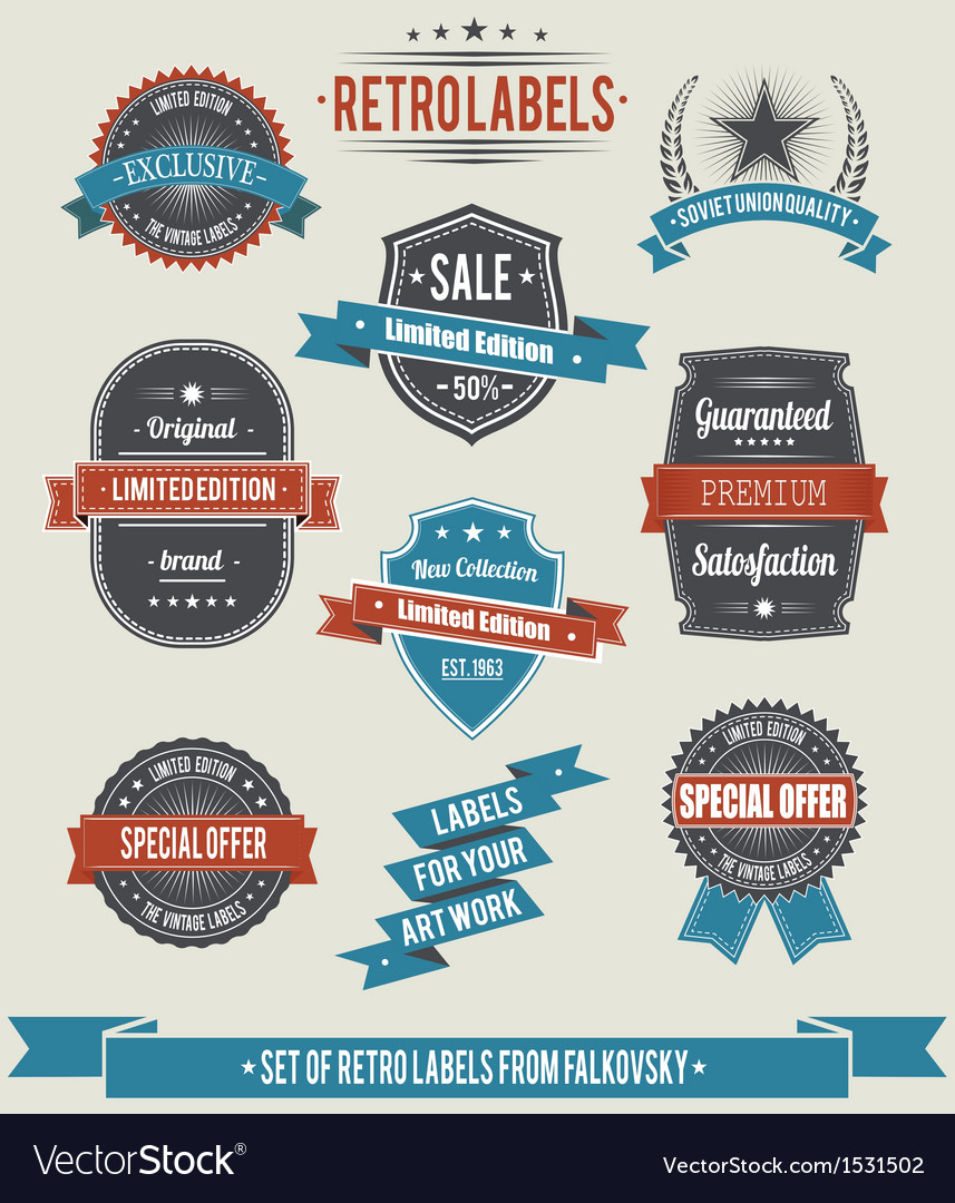 Set of vintage retro labels calligraphic elements vector | Price: 1 Credit (USD $1)