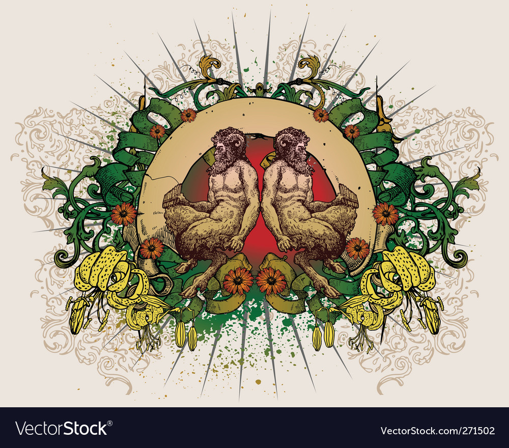 T-shirt design with two satyr vector | Price: 5 Credit (USD $5)