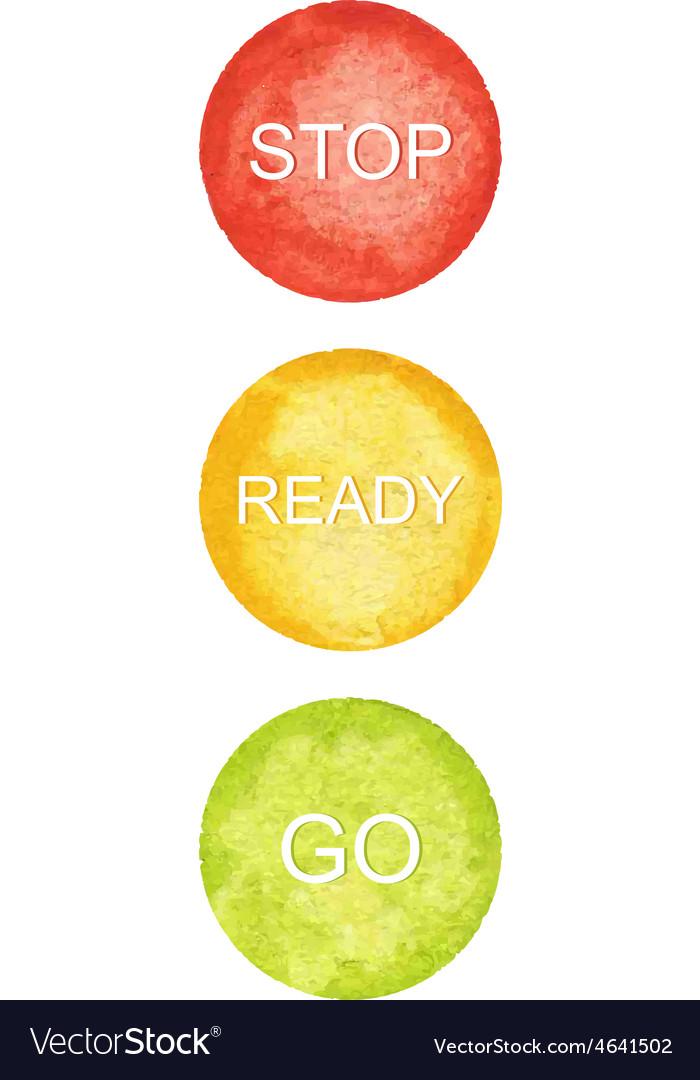 Watercolor circles traffic lights vector