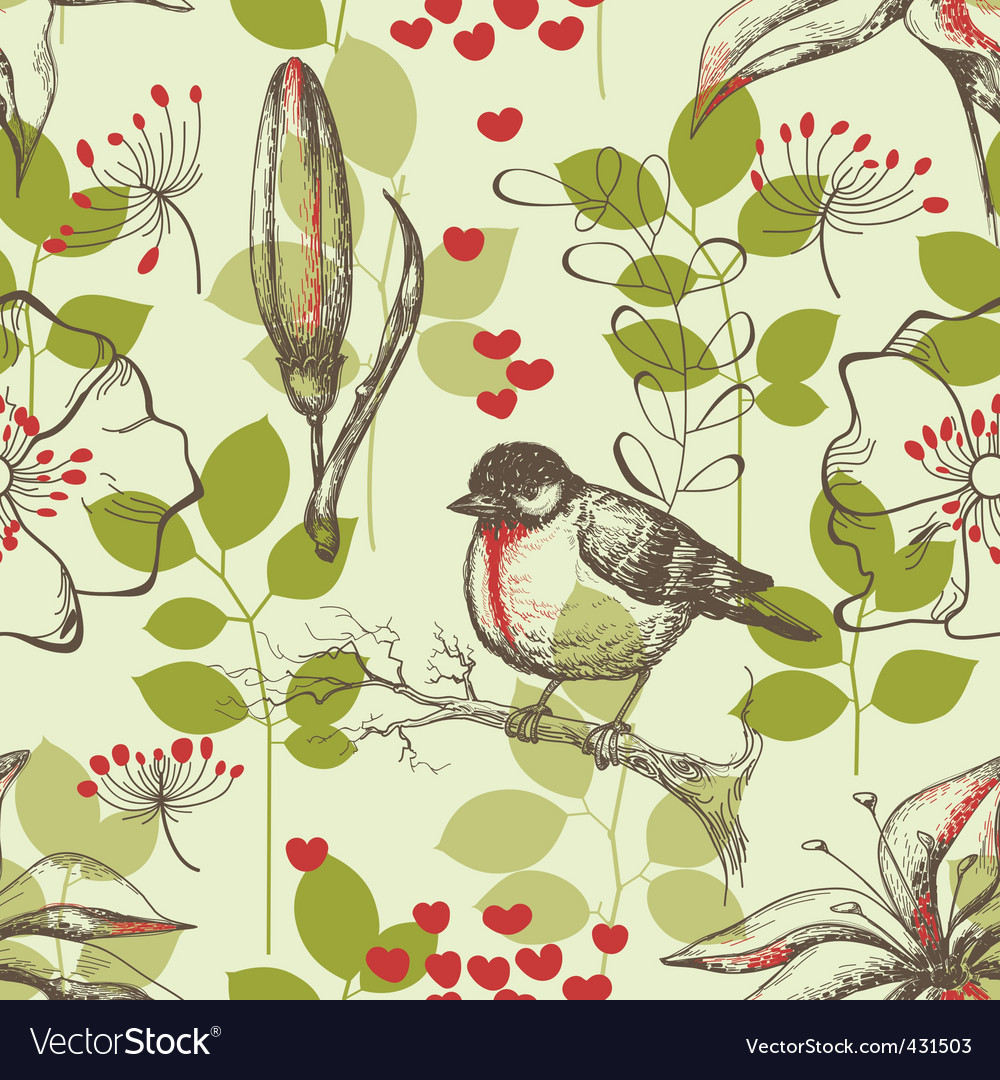 Bird and lilies wallpaper vector | Price: 1 Credit (USD $1)