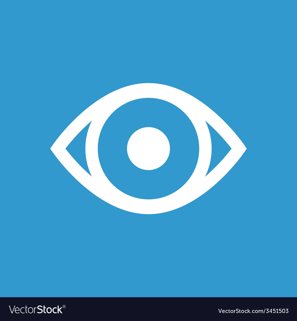 Eye icon white on the blue background vector | Price: 1 Credit (USD $1)
