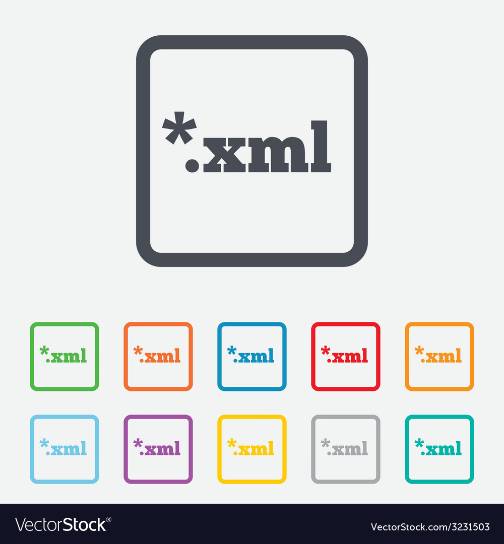 File document icon download xml button vector | Price: 1 Credit (USD $1)