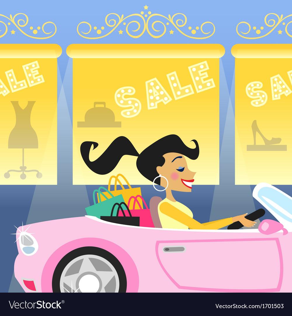 Girl shopping in car vector   Price: 1 Credit (USD $1)