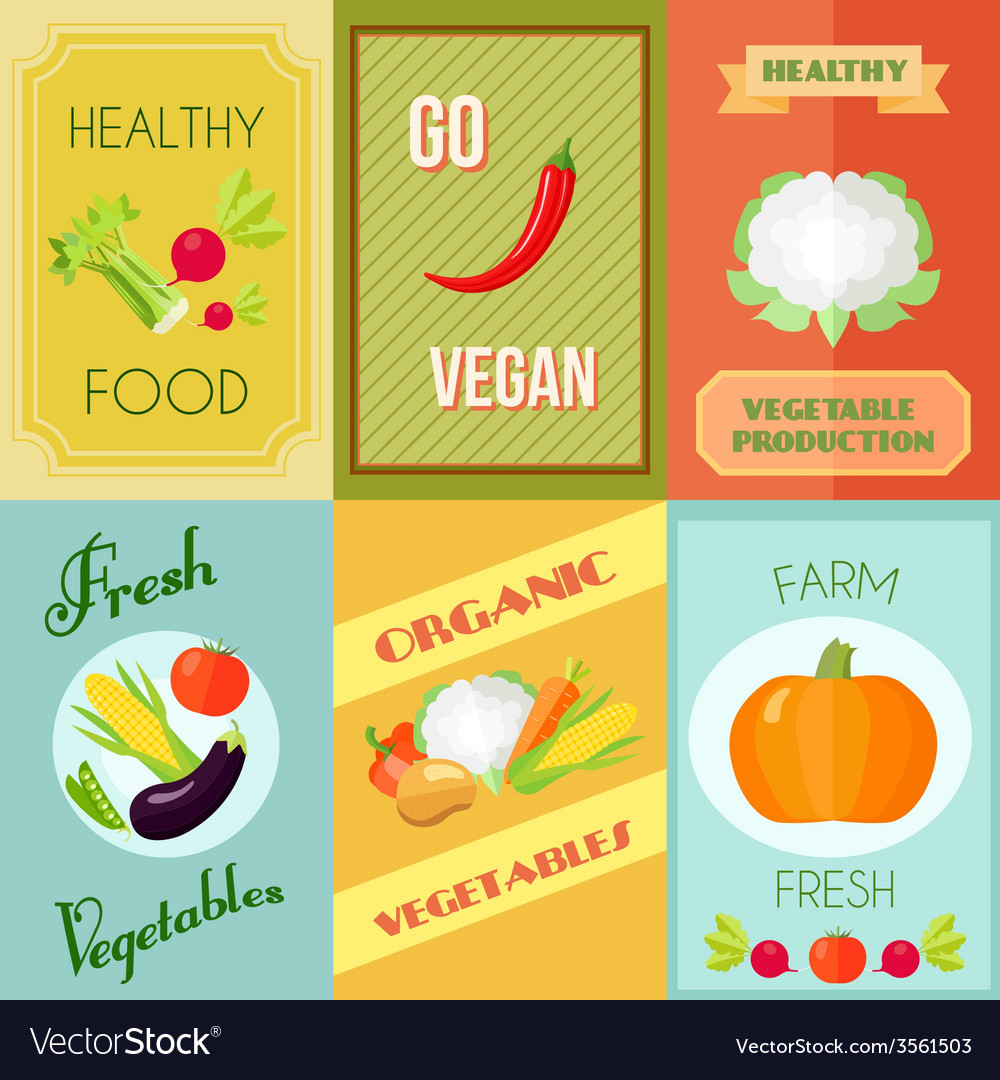 Healthy food mini poster set vector | Price: 1 Credit (USD $1)
